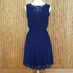 Jessica Simpson Navy Blue Pleated Dress